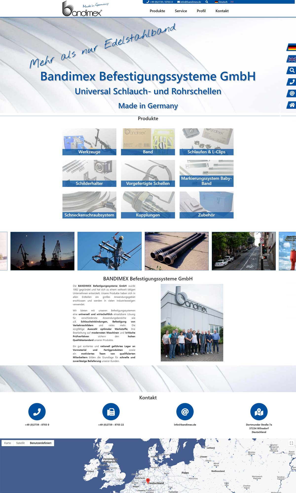 Screenshot Bandimex Befestigungssysteme GmbH